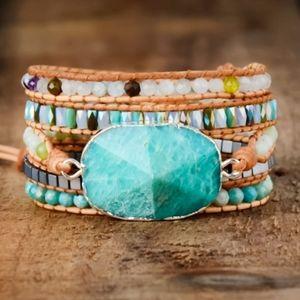 Amazonite Leather Handmade Beaded Wrap Bracelet